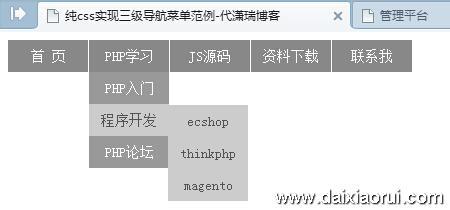 纯css实现三级下拉导航菜单范例效果图